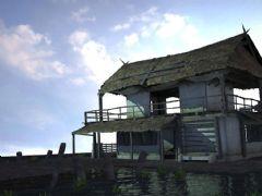 水面小屋,破旧茅草屋,真实渲染