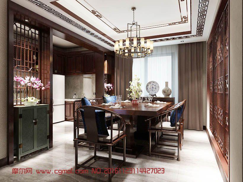 室内模型 整体效果  标签:餐厅中式餐馆包厢包房 作品描述:中式餐厅
