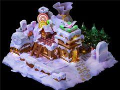 白雪圣诞糖果礼物小屋-圣诞节素材