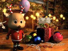 圣诞小鹿卡通角色场景