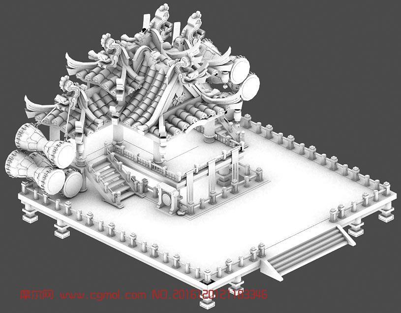 Q版戏台建筑