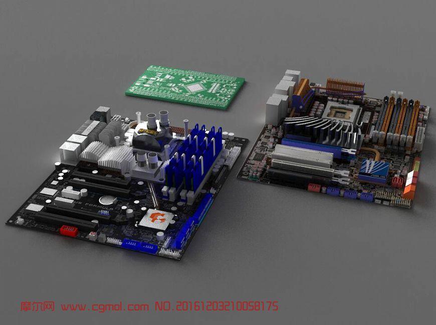 线路板 pc主板 电路板 科技 硬件 集成电路 电容合集 maya max文件