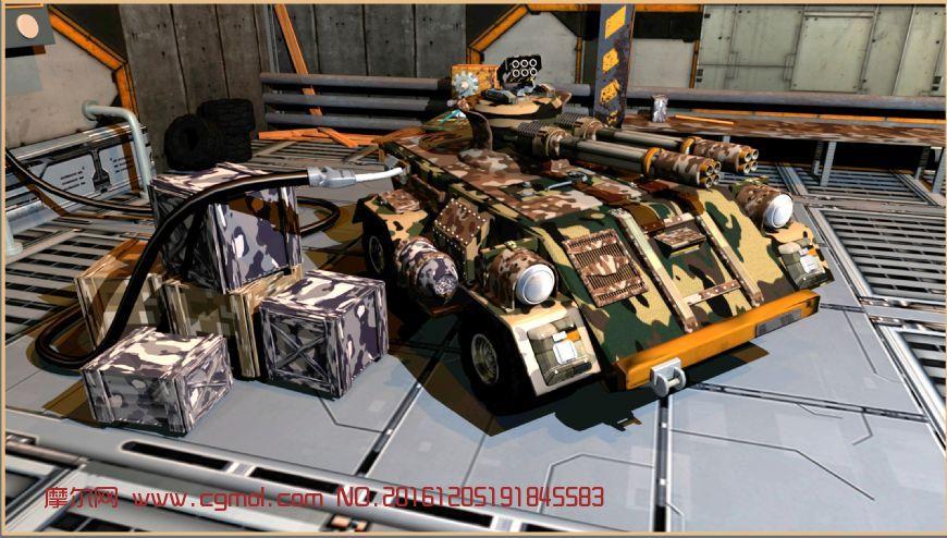 maya装甲车基地修复场景