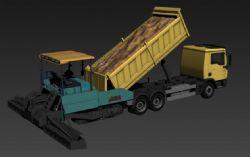 自卸车+摊铺机组合模型