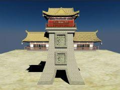 古代城楼模型