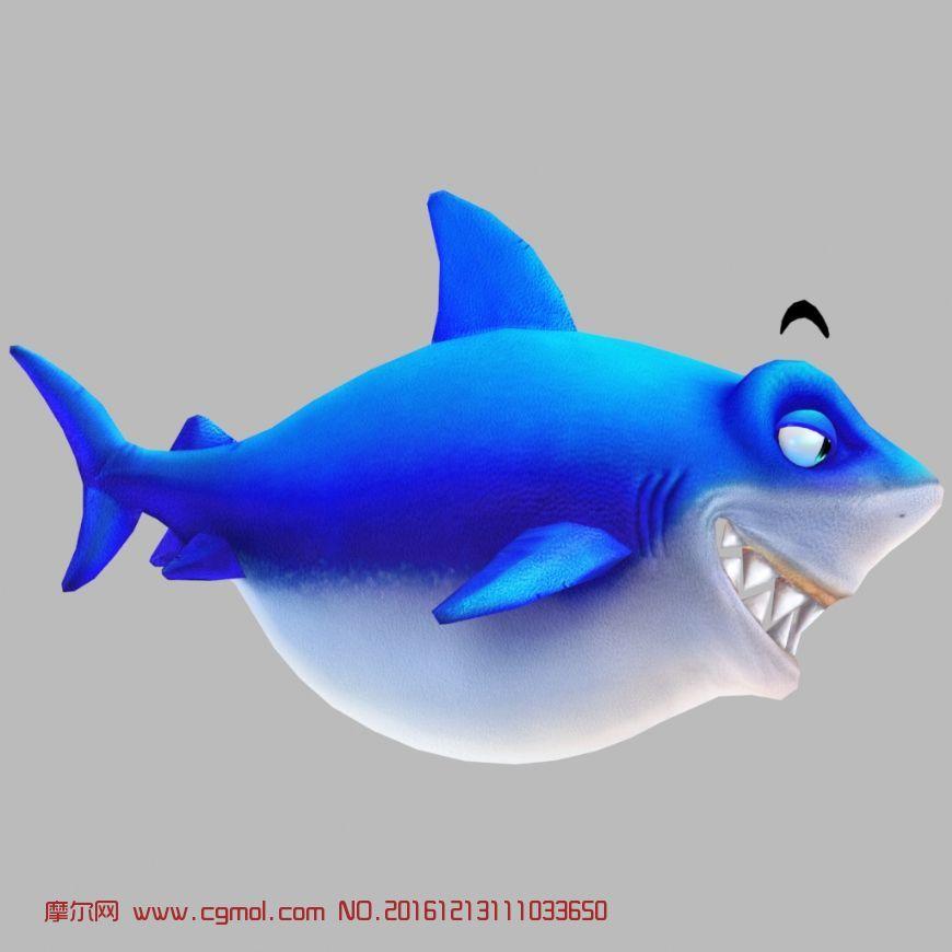 动物模型 鱼类动物  标签:q版鲨鱼捕鱼达人捕鱼来了 作品描述:q版鲨鱼