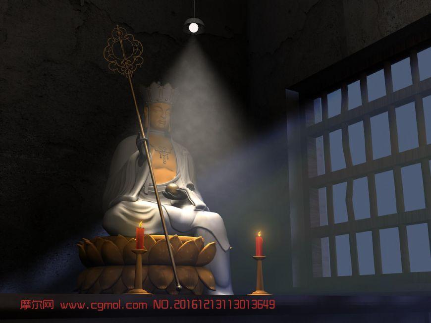 地藏菩萨庙堂灯光