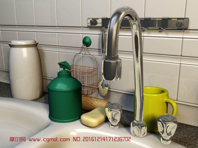 洗手池,水杯,洗手液maya场景