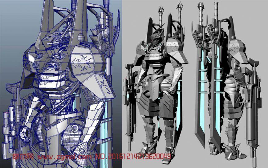 顶级设计-陆战机甲战士maya模型