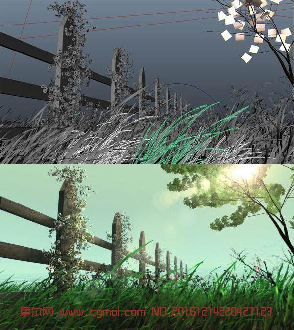 春夏清风绿草花藤栅栏场景maya模型,带动画,无贴图