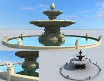 精致欧式喷泉,水池
