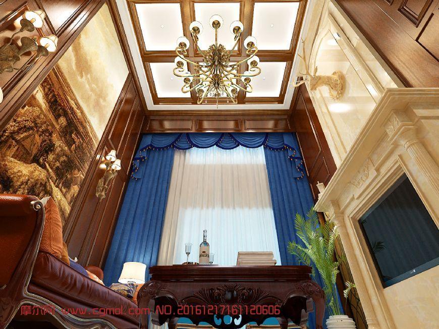 室内模型 整体效果  标签:美式客餐厅样板间 作品描述:美式豪华客餐厅