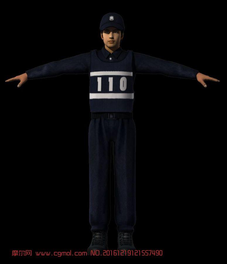 男性写实警察,通勤装 ,带贴图,有obj文件