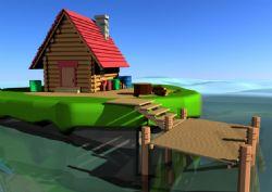 简易的湖边房屋场景建模
