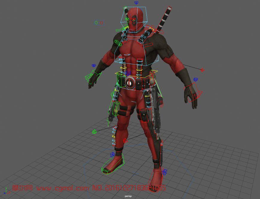 绑定好的死侍maya模型