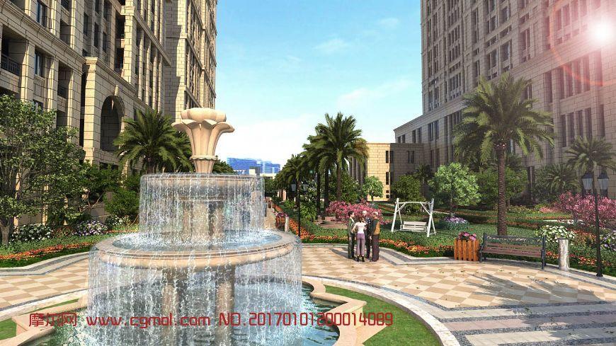 原创小区广场喷泉特写动画(网盘下载)