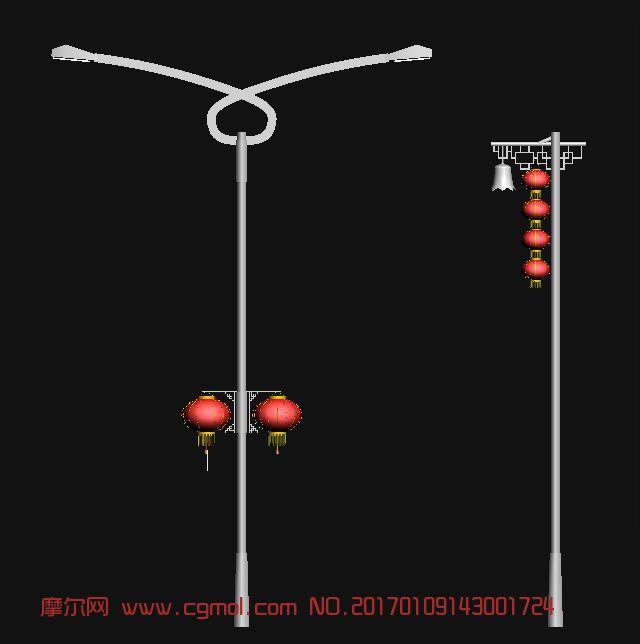 春节红灯笼路灯