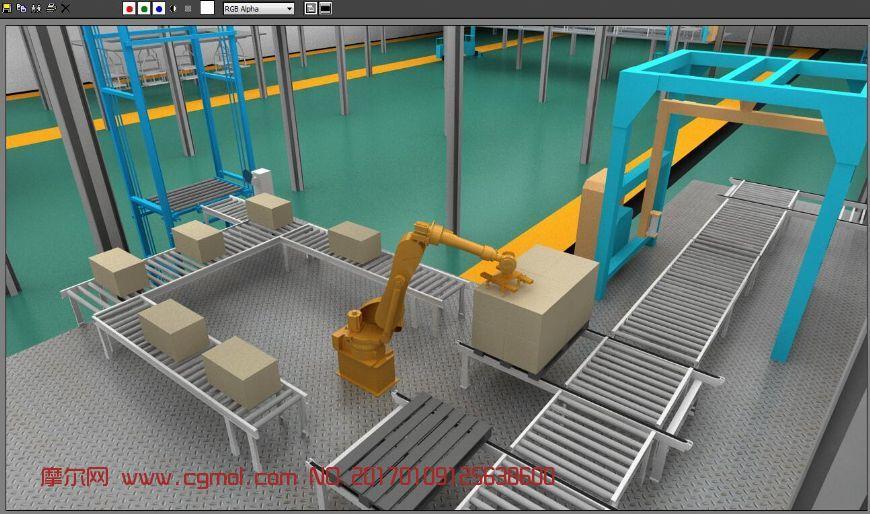 仓库机械臂运输货物,封装,带动画