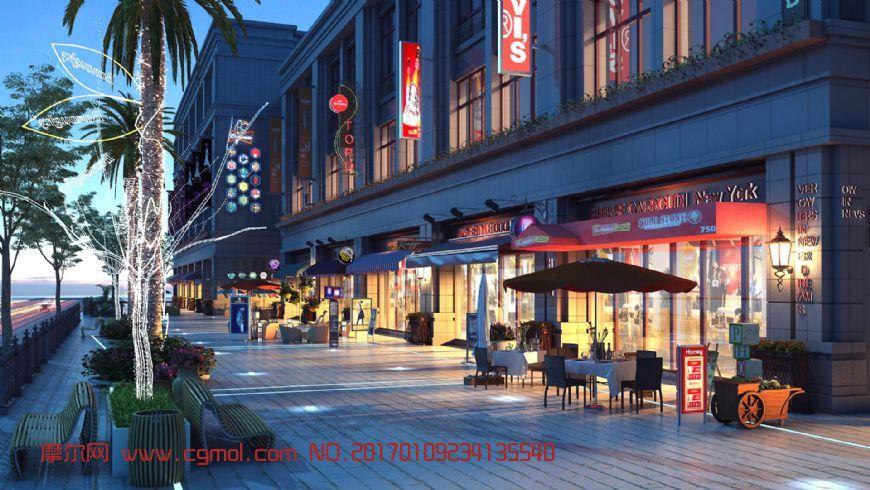 夜景商业沿街,商业小品精细 (网盘下载)