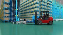 大型智能仓库,叉车运输,带动画