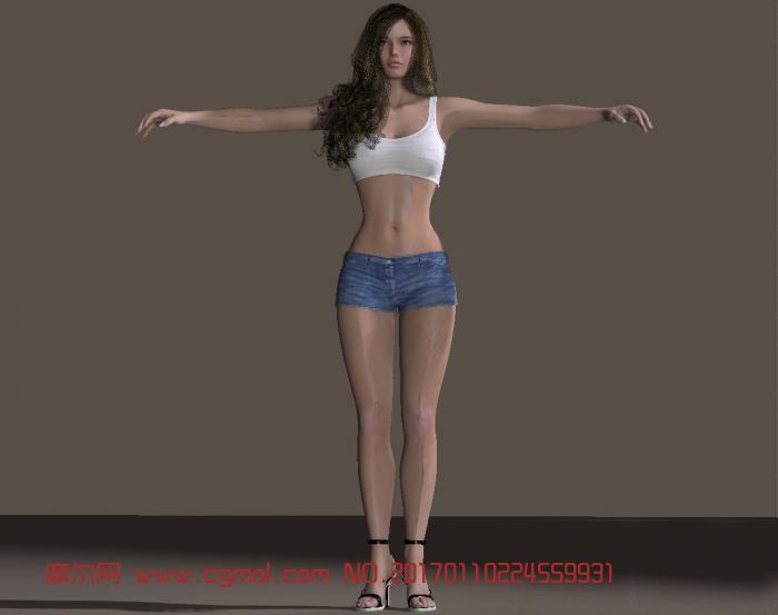 牛仔短裤爆乳美女模特