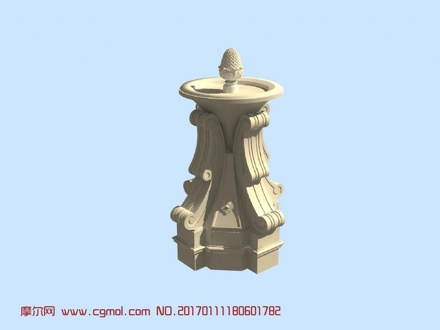 菠萝雕塑,喷泉构件