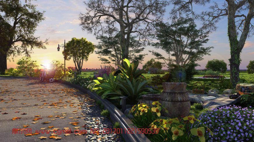 夕阳下的公园景观(网盘下载)