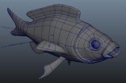 绑定动画的金鱼maya模型