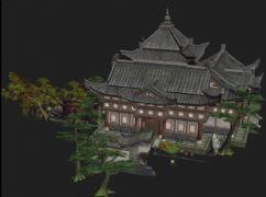 游戏中的多种树木,寺庙