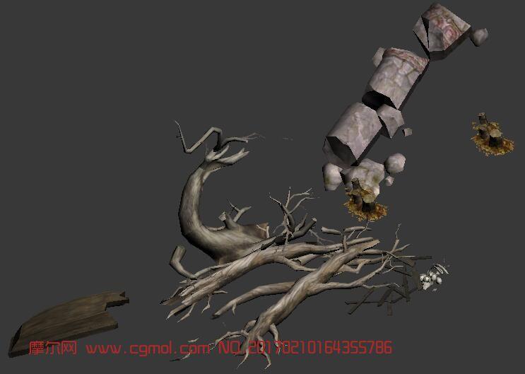 树桩,枯树,破船,石头