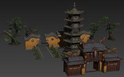 寺院宝塔,寺庙,围墙,禅室等构件组合