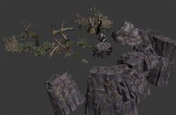 游戏中的尸骨,树木,绿植,山体等素材