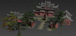 森林里的道观寺庙