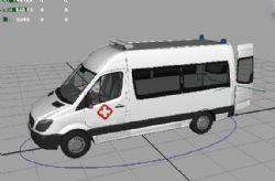 救护车maya2009模型,驶入开门动画