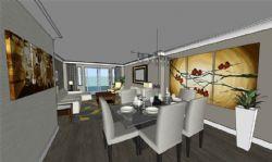 一个公寓内?#31354;?#20307;设计,书房,厨房,卧室,客厅
