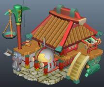 卡通防具店maya模型