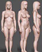 Zbrush女性人物网格细节模型源文件