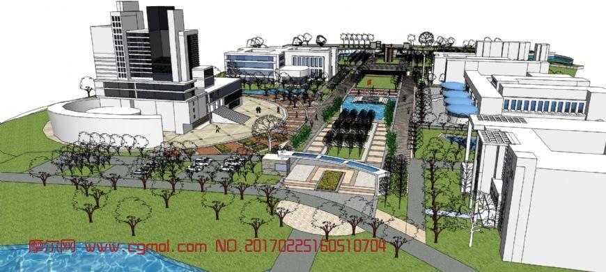 办公区景观场地模型