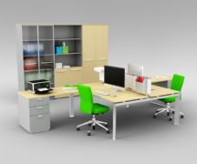 绿色调双人办公桌