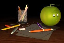 苹果形状音箱+笔筒等文具