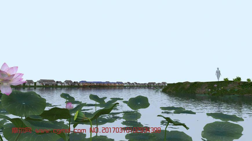 江南园林小镇,村庄+荷花池