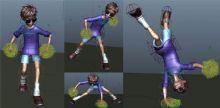 卡通小男孩跳街舞动画maya作品