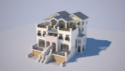 3d单个别墅建造,无贴图