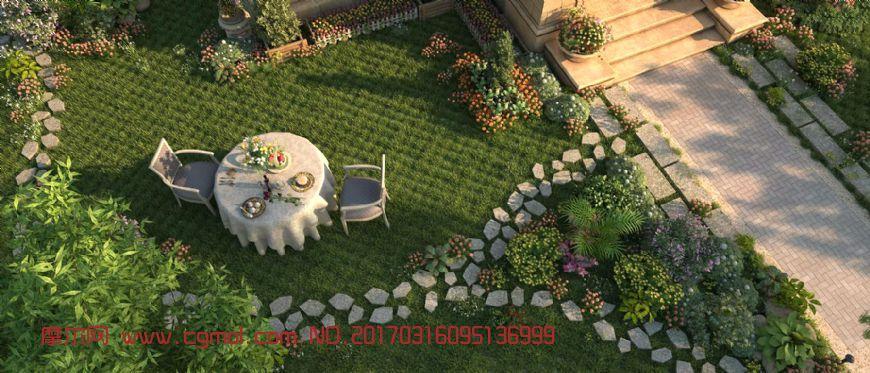 现在别墅花园场景max模型(网盘下载)
