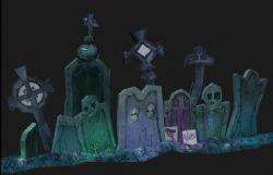 墓地里多种墓碑max模型