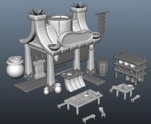 Q版古代茶馆驿站maya模型