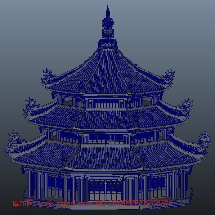 三层精细宝塔maya模型
