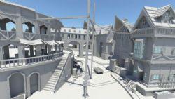 一个中世纪时期的街道村庄maya模型