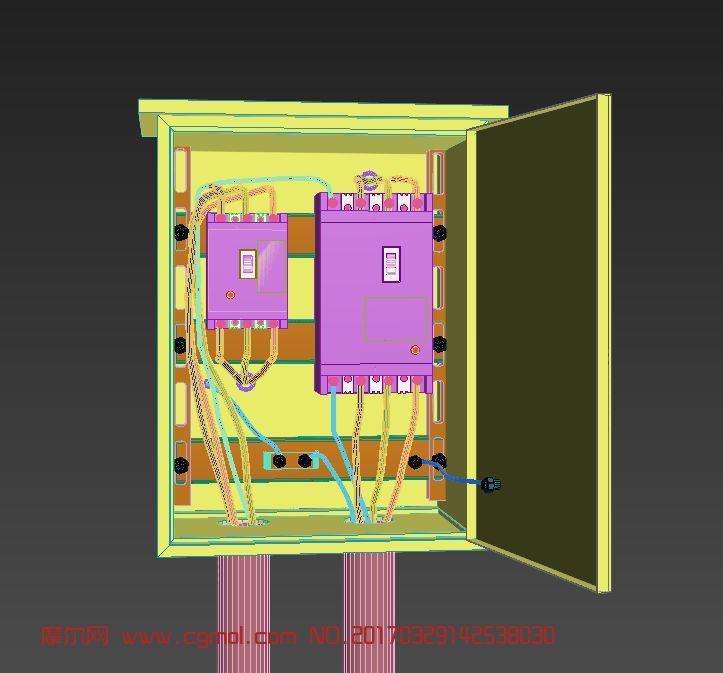 工地三级电箱max模型