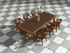 次世代桌椅套装,带法线,无地板贴图